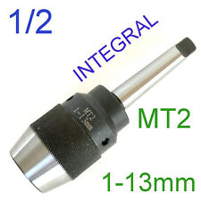 """1 pc Keyless 1/32""""-1/2"""" Drill Chuck w/Integral Integrated MT2 2MTShank for CNC"""