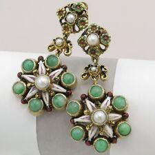 Vtg Victorian Revival Austrian Jadeite Jade Pearl Enamel Dangle Drop Earrings