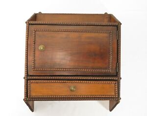 ANTIQUE Handmade PRIMITIVE WOOD WALL CABINET SHELF W/ DRAWER Beaded FOLK ART