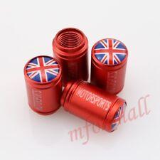 Car Accessory Trim Wheel Rim Screw Cover Red Tyre Tire Valve Cap UK England Logo