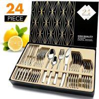Modern Flatware Set Kitchen Silverware Large Cutlery Stainless Steel 24 Pieces A