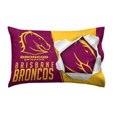 NRL Pillow Case - Brisbane Broncos - Team Logo Bed Pillowcase DOUBLE SIDED Print
