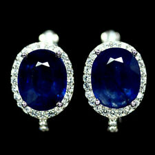 NATURAL 8 X 10mm. BLUE SAPPHIRE & WHITE CZ EARRINGS 925 SILVER STERLING