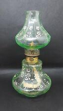 Antique Miniature Oil Lamp Lime Green Beaded Hand Painted S1-262 Hornet Burner