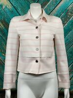 W by Worth Women Crop Blazer 2 Pink White Striped Snap Front Pockets Long Sleeve