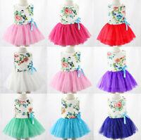 Kids Girls Toddler Princess Sleeveless Bow Flower Lace Tutu Mini Dress Sundress