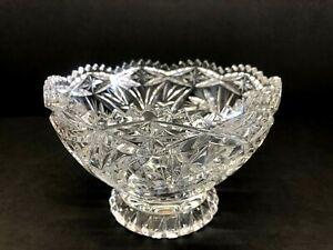 """American Brilliant Period Pinwheel Cut Crystal Glass Bowl 6.25"""" Diameter"""