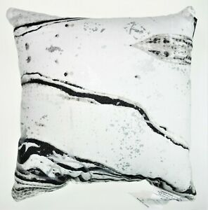 Urban by Design 12x12 Accent Throw Pillow Black Silver Abstract Marble Foil