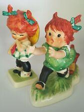 2 Vintage Goebel Hummel Red Head Figures! Girl Chased by Dog & Little Miss Coy