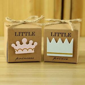 10pc/lot Baby Shower Newborn Baby Candy Box Little Prince Little Princess Crown