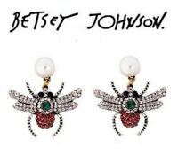 US Seller Betsey Johnson Crystal Insect Stud Earrings Fashion Jewelry bee dangle
