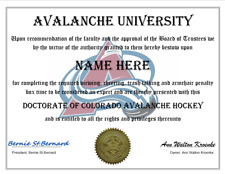 Colorado Avalanche Personalized Fan Certificate Great Gift