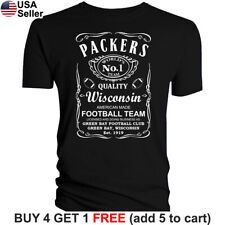 Green Bay Packers T-Shirt JD Whiskey Graphic GB Men Cotton JD Whisky