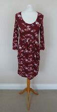 Laura Ashley Wine Red Pink Grey Floral Tree Print Jersey Tea Dress Size 8 VGC