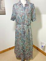 Eugen Klein Size 14 Shirt Dress Safari MIDI Blue White Animal Print Cotton