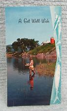 Vintage Fisherman Fishing Theme Plastichrome USA Get Well Card FREE S/H