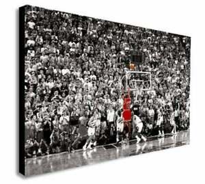 Michael Jordan Last Shot Chicago Bull Wall Art Print On Canvas-Framed