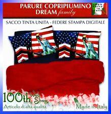 COPRIPIUMINO MATRIMONIALE 100% COTONE NEW YORK AMERICA USA ROSSO