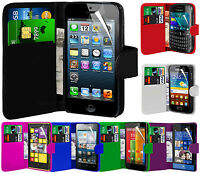 Premium PU Leather Wallet Flip Case Cover Pouch & LCD Film For Various Handsets