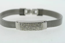 10.5mm Stainless Steel Mesh Crystal Rhinestone Bracelet