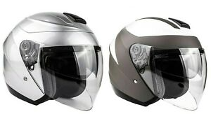 3/4 Open Face Helmet Motorcycle Moped Scooter DOT Dual Visor Small