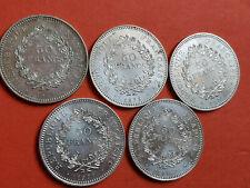 Lot 5 pièces argent 50 Francs Hercule année 1974 / 75 / 76 / 77 / 78 Lot n° 24