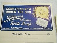 """1890's Armour's Floating White Soap """"Something New Under The Sun"""" Adv. Receipt"""