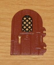 LEGO - Round Top Door w/ Black Diamond Lattice Window - Reddish Brown