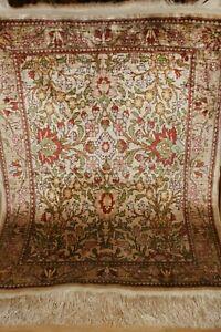 Türkischer Hereke Seidenteppich Signiert 11x11 Knoten 72x58cm Seide Teppich Silk