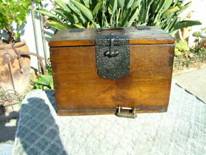 ANTIQUE JAPANESE TANSU BOX SIDE DRAWERS ABACUS BARREL LOCK