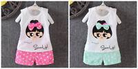 Toddler Kids Baby Girls T-shirt Tops+short pants Summer Outfits &set sweet girl