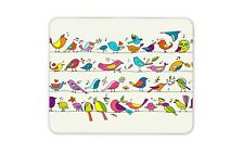 Cartoon Birds Mouse Mat Pad - Cute Pretty Kids Drawings Fun Computer Gift #15794