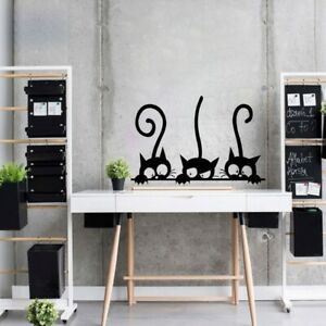 Lovely 3 Black Cute Cats Wall Sticker Home Decor Cat Living Room Kids Room