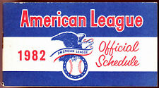 1982 AMERICAN LEAGUE OFFICIAL BASEBALL SCHEDULE BOOKLET EX+NM FREE SHIPPING