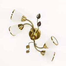 Jugendstil Deckenleuchte in Bronze antik Weiß floral Blätter Wohnzimmer Lampe