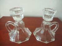 """Pair of Collectable Vintage Clear Glass - 4.6 """" Tall  Candle Stick Holders!"""