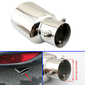 "2.5"" 63 mm Car Exhaust Pipe Tail Tip Rear Muffler End Silencer Cover Trim Steel"