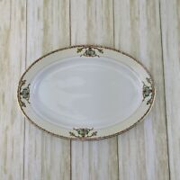 """Meito China Japan Oval Serving Platter White Floral Gold Trim Hand Painted 12"""""""