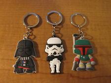 (3) STAR WARS Keychains Key Chain PVC Stormtrooper BOBA Fett DARTH VADER