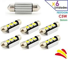 x6 BOMBILLAS CANBUS FESTOON C5W 36MM LED SMD 5050 MATRICULA COCHE NO ERROR 6418