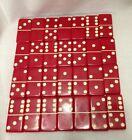 Vintage Red Bakelite Dominoes In Faux Snake Skin Case