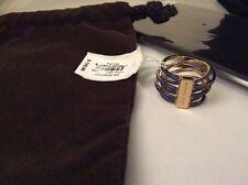 Michael Kors Gold Tone Parisian Jewel Blue Pave Stones Criss Cross Ring Sz 7#41
