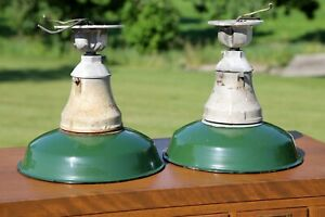 """2 Crouse Hinds 12"""" Sign Globe Light Green Porcelain Industrial Gas Station Barn"""