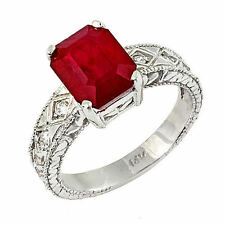 Estate ring 4.0 ct natural ruby and diamond 14k gold