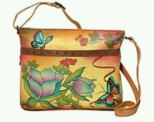 Anuschka Hand-Painted Leather Med Organizer Cross Body In Country Flower NWT!!