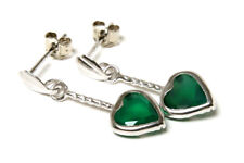 9ct White Gold Green Agate Heart Dangly Long Drop Earrings Made in UK Gift Boxed