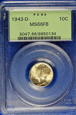 1943-D Pcgs Ms66 Full Band Mercury Dime! #B6594