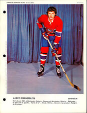 1973 Larry Robinson RC year MONTREAL CANADIENS EX= DIMANCHE DERNIERE 8X11 PHOTO