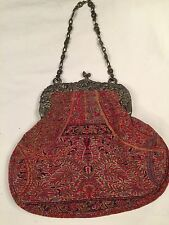 Antique Tapestry Purse Handbag Victorian Repousse Frame Chain Inner Change Purse
