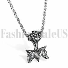 Men's Stainless Steel THOR'S HAMMER Double Wolf MJOLNIR Pewter Pendant Necklace